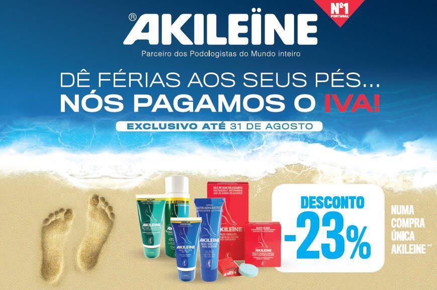 Aproveite já o desconto de -23% em produtos da gama Akileine e leve os seus pés de férias acompanhados dos melhores cuidados !