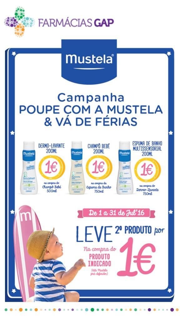 Vá de férias com Mustela Na compra de um produto, leve o segundo por 1€. Campanha limitada ao stock existente.
