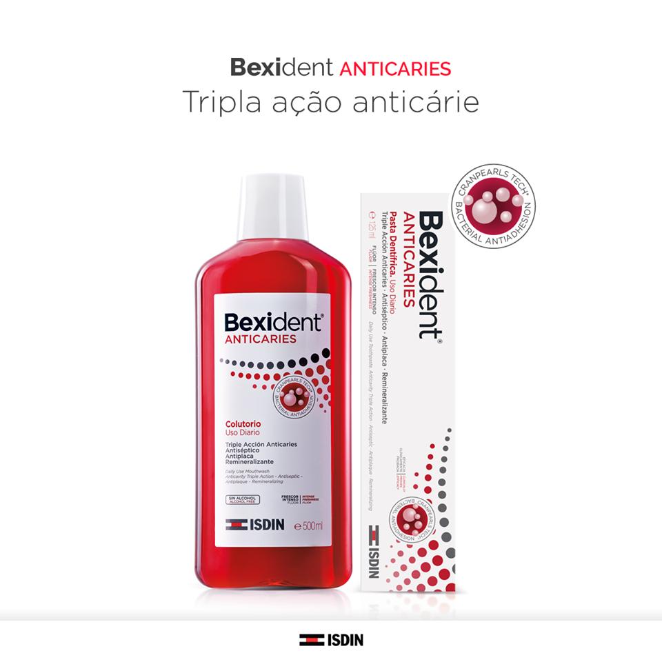 Bexident Anticaries, o primeiro dentífrico anticárie com Cranpearls Tech®, uma inovadora combinação que garante uma tripla ação anticárie e evita a colonização das bactérias!