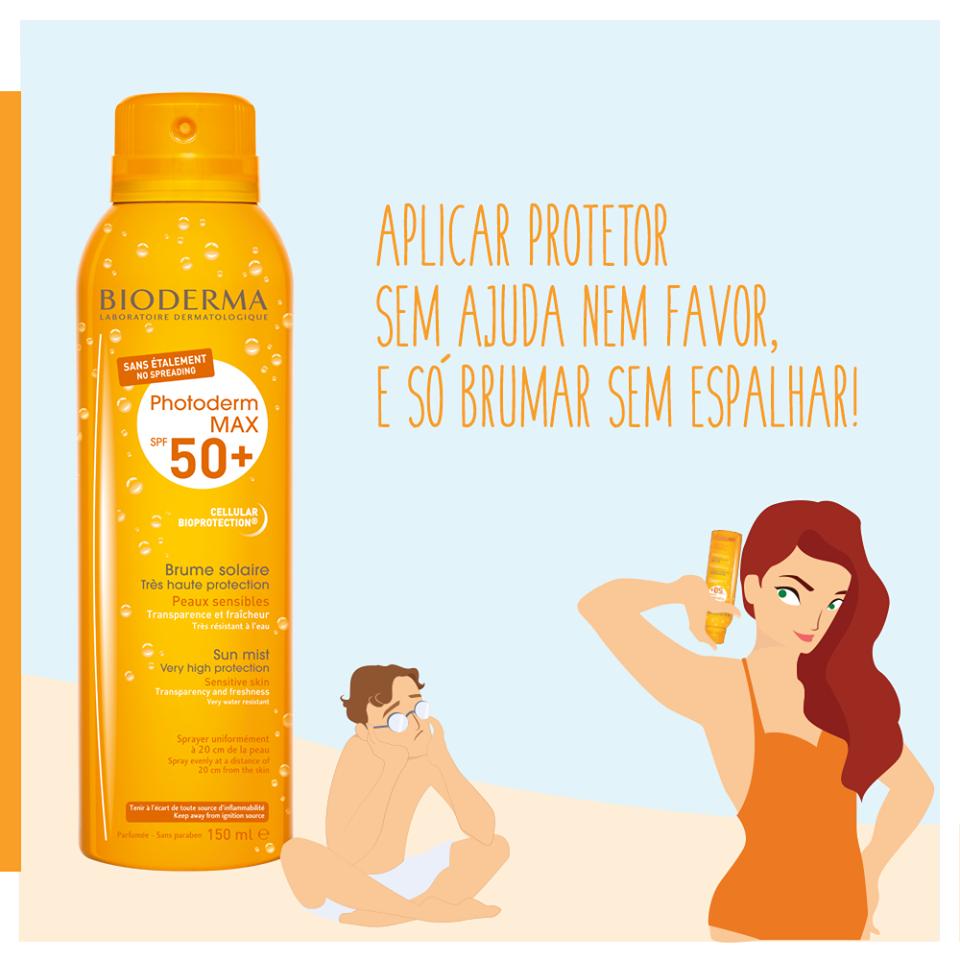 Aplicar protetor solar sem ninguém para ajudar?... descontraia, Photoderm MAX Bruma SPF50+ é só Brumar Sem Espalhar !
