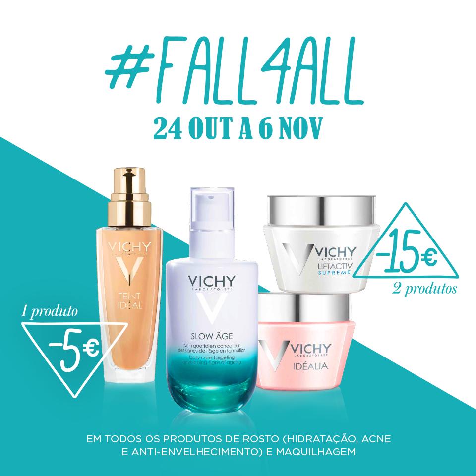 O Outono chegou e com ele caem as promoções Vichy :) Até dia 6 de Novembro aproveite os 5€ de desconto na compra de um produto de rosto ou os 15€ de desconto na compra de dois produtos de rosto.