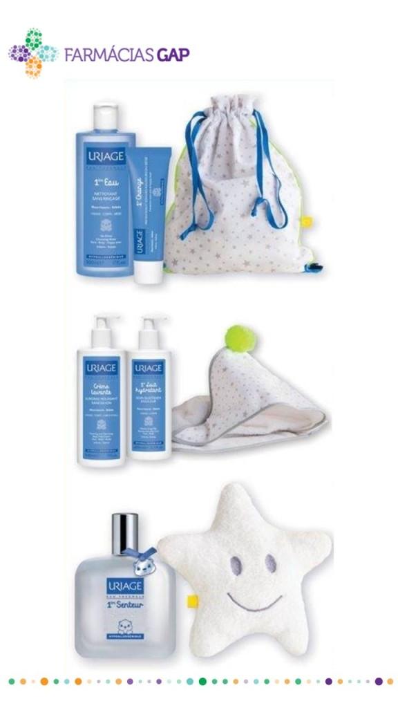 A coleção Uriage by Lavandiska é composta por 3 distintos acessórios, um saco para a roupa (disponível na compra de 1ère Eau + 1er Change), uma toalha de banho (disponível na compra de Creme Lavante + 1er Lait), a estrela do óó (disponível na compra de 1ère Eau + 1erChange).