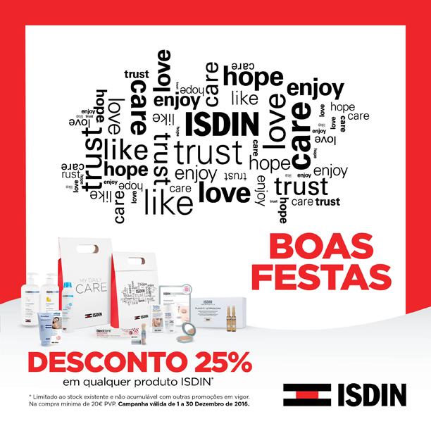 Até 31 de Dezembro 2016 a ISDIN deseja-lhe Boas festas com 25% de desconto na compra de qualquer produto. (compra mínima 20€) Inclui as linhas Nutraisdin, Nutratopic, Ureadin, ISDINceutics, Lambdapill, Velastisa... excepto outras promoções.