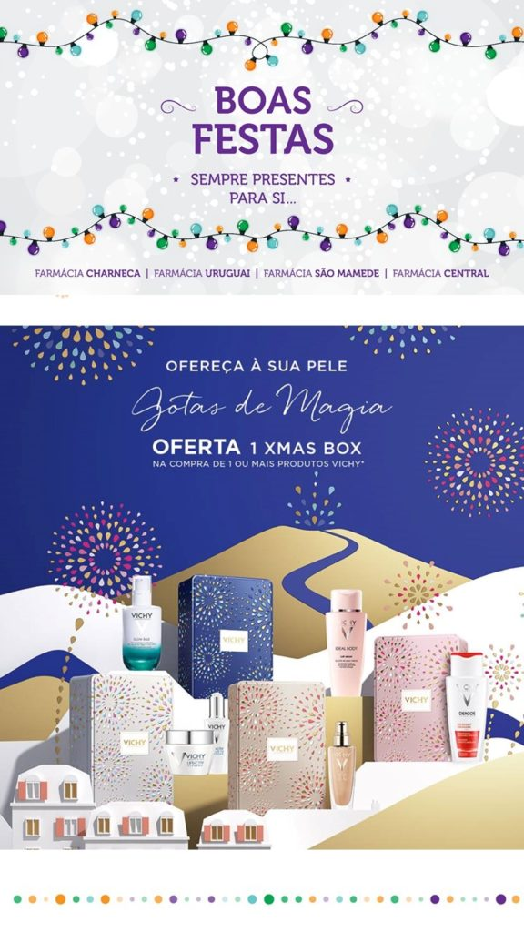 Neste Natal 2016 descubra uma das 4 Xmas boxes que temos reservadas para si, na compra de um ou mais produtos Vichy.