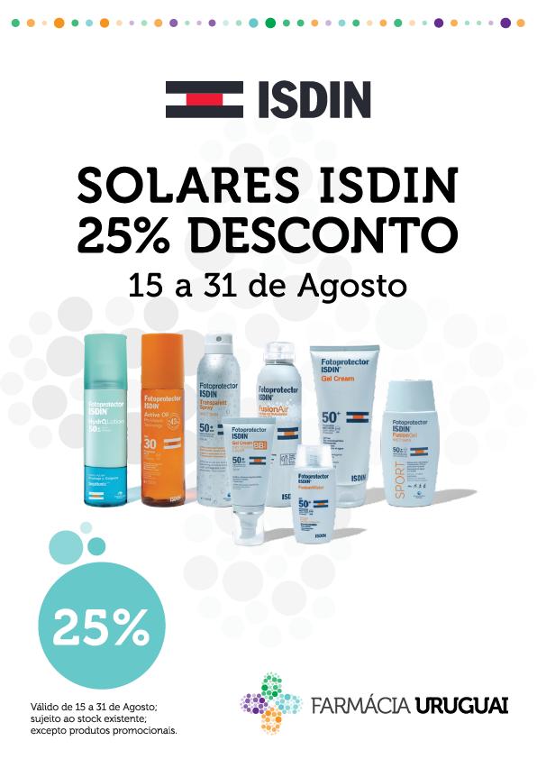 SOLARES ISDIN – 25% de Desconto